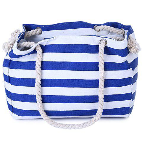 Affordable Casual Striped Canvas Beach Bag - BLUE  Mobile