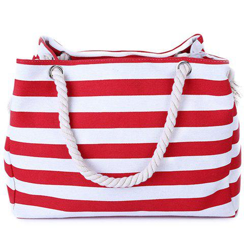 Fancy Casual Striped Canvas Beach Bag - RED  Mobile