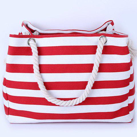Trendy Casual Striped Canvas Beach Bag - RED  Mobile