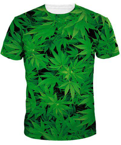 Outfits Slim Fit Round Collar Weed T-Shirt For Men