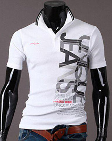 Trendy New Style Turn-down Collar Letters Print Short Sleeves Polo T-Shirt For Men WHITE 2XL
