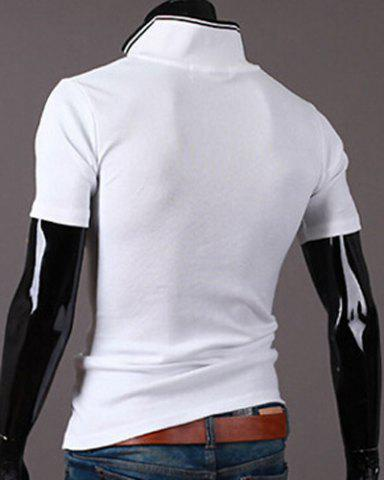 Unique New Style Turn-down Collar Letters Print Short Sleeves Polo T-Shirt For Men - 2XL WHITE Mobile