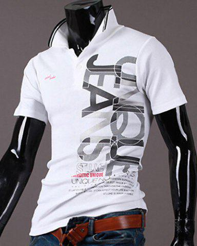 Buy New Style Turn-down Collar Letters Print Short Sleeves Polo T-Shirt For Men - 2XL WHITE Mobile