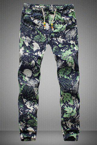 Shop Drawstring Leaves Printed Narrow Feet Men's Jogger Pants COLORMIX 5XL