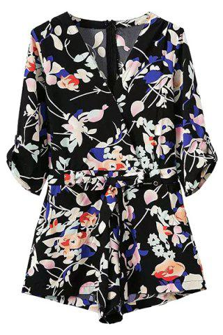 Fancy Stylish Cross-Over Floral Print Pocket Design Women's Belted Playsuit