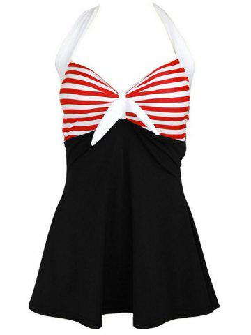 Trendy Halter Sailor Swimdress Stripe Tankini Top Bathing Suit BLACK AND WHITE AND RED M