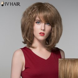 Bouffant Wavy Capless Stylish Short Side Bang Human Hair Wig -