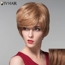 Noble Side Bang Fluffy Natural Wave Elegant Short Capless Human Hair Wig For Women - AUBURN BROWN #30