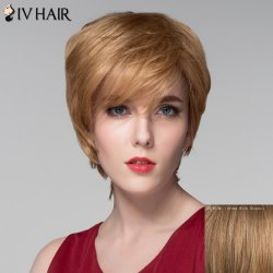 Spiffy Short Layered Capless Shaggy Natural Wavy Side Bang Human Hair Wig For Women -