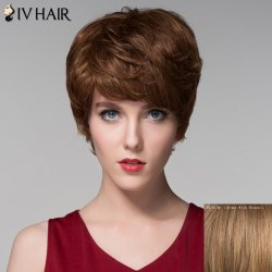 Fashion Side Bang Capless Vogue Short Fluffy Wavy Real Natural Hair Wig For Women -