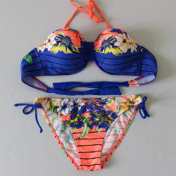 Sexy Halterneck Stripe Floral Print Bikini Set For Women