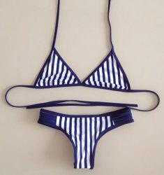 Sexy Halter Lace-Up Striped Backless Women's Bikini Set