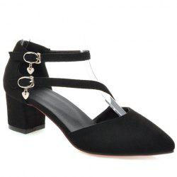 Casual Buckle Strap and Suede Design Pumps For Women - BLACK