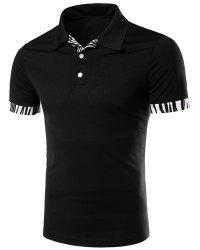 Zebra-Stripe Spliced Turn-down Collar Short Sleeves Polo T-Shirt For Men - BLACK