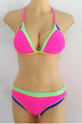 Sexy Halter Hit Color   Bikini Set For Women