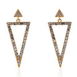 Pair of Triangle Rhinestoned Drop Earrings -