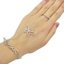Rhinestoned Butterfly Bracelet With Ring - SILVER