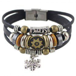 Vintage Faux Leather Rope Snowflake Beads Bracelet For Men