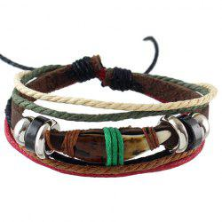 Vintage Layered Faux Leather Rope Bracelet -