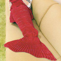 Knitted Mermaid Blanket - RED