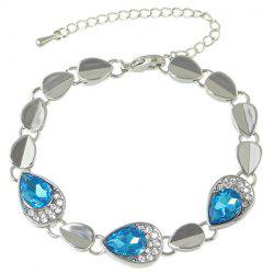Vintage Faux Crystal Rhinestoned Water Drop Bracelet -