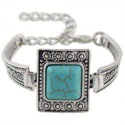 Vintage Faux Turquoise Geometric Bracelet For Women