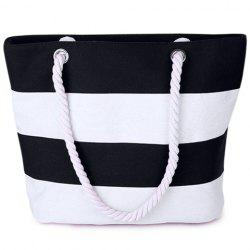 Hemp Rope Strap Stripe Tote - WHITE AND BLACK