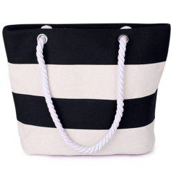 Hemp Rope Strap Stripe Tote - OFF-WHITE