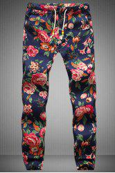 Drawstring Floral Printed Narrow Feet Men's Jogger Pants - COLORMIX M