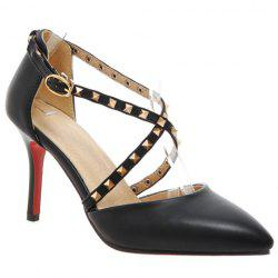 Stylish Rivets and Cross Straps Design Pumps For Women - BLACK
