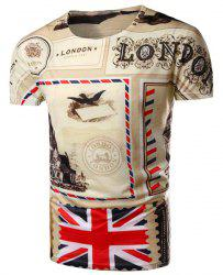 Round Neck Union Jack Pattern Print Short Sleeve Men's T-Shirt - COLORMIX