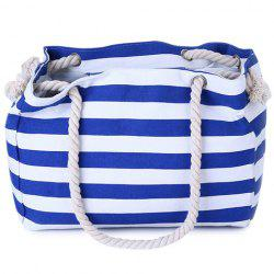 Casual Striped Canvas Beach Bag - BLUE