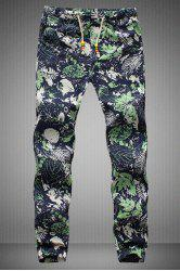 Drawstring Leaves Printed Narrow Feet Men's Jogger Pants