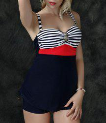 Vintage Sailor Style Anchor Striped Tank Top and Boxers Twinset Swimwear