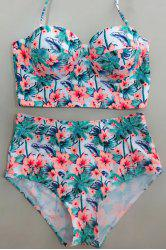 Halter Floral High Waisted Push Up Underwire Bikini Swimwear