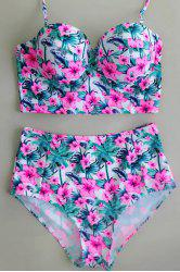Halter Floral High Waisted Push Up Bikini - ROSE PÂLE