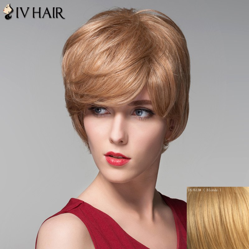 Noble Side Bang Fluffy Natural Wave Elegant Short Capless Human Hair Wig For Women от Rosegal.com INT