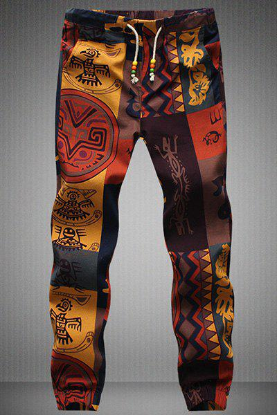 Drawstring Gecko Pattern Print Narrow Feet Mens Jogger PantsMEN<br><br>Size: L; Color: COLORMIX; Style: Casual; Pant Style: Jogger Pants; Pant Length: Long Pants; Material: Cotton Blends; Fit Type: Regular; Front Style: Flat; Closure Type: Drawstring; Waist Type: Mid; With Belt: No; Weight: 0.3340kg; Package Contents: 1 x Pants;