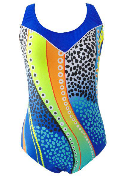 Women's Stylish Scoop Neck Hit Color One Piece Swimwear от Rosegal.com INT