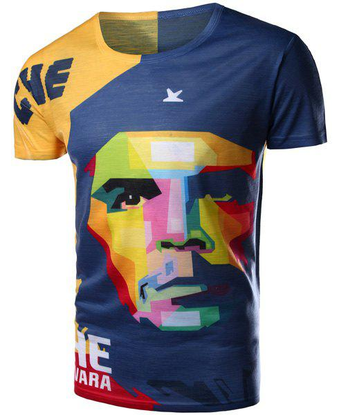 Shop Round Neck 3D Mix-Color Abstract Face Pattern Short Sleeve Men's T-Shirt