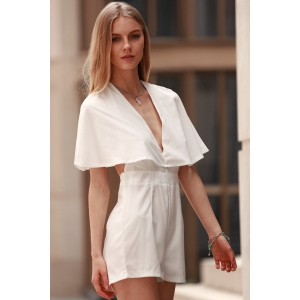 Stylish Plunging Neck Bat-Wing Sleeve Solid Color Women's Romper -