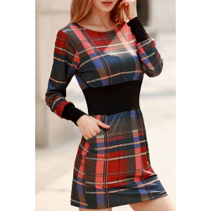 Stylish Round Collar Long Sleeve Waisted Checked Dress For Women