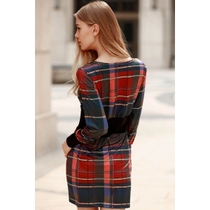 Stylish Round Collar Long Sleeve Waisted Checked Dress For Women -