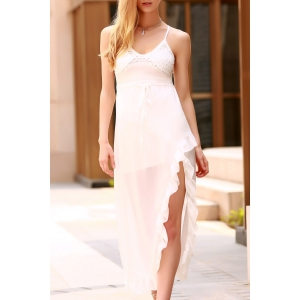 Sexy Spaghetti Straps Lace Spliced High Slit Dress For Women