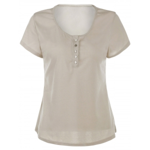Sexy Scoop Neck Short Sleeve Solid Color Slimming T-Shirt For Women