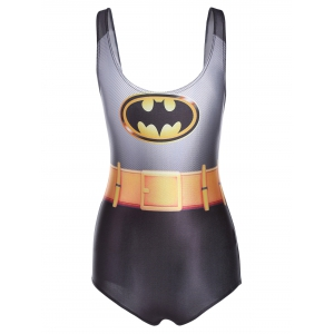 Charming 3D Batman Printed Bodycon One-Piece Swimwear For Women