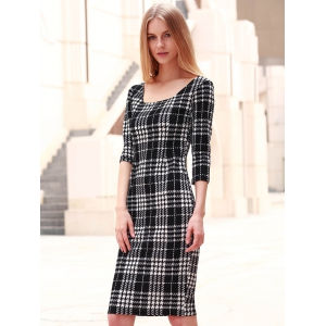 Chic Square Neck 3/4 Sleeve Bodycon Women's Dress - BLACK S