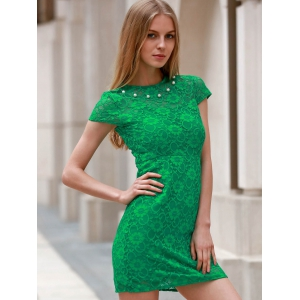 Round Neck Short Sleeve Sheath Lace Dress - GREEN M