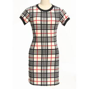 Classic Round Neck Short Sleeve Bodycon Gingham Dress For Women - Black And White And Red - L