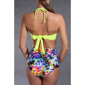 Floral High Waisted Push Up Bandeau Bikini -